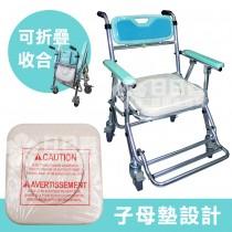 【富士康】摺疊馬桶椅 FZK-4542 綠色 (便器椅 洗澡椅 附輪可收合)